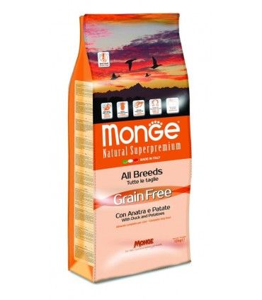Monge cane grain free all breed anatra e patate 12 kg