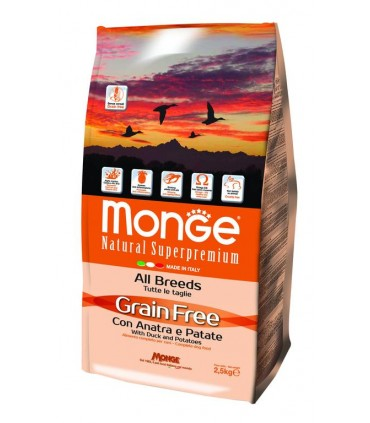 Monge cane grain free all breed anatra e patate 2,5 kg
