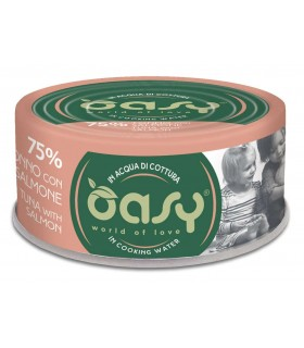 Oasy gatto more love 75% tonno con salmone 70 gr