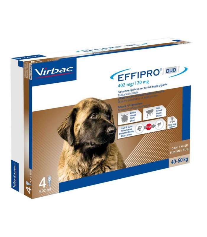 Effipro duo cane spot-on 402 mg 40-60 kg 4 pipette