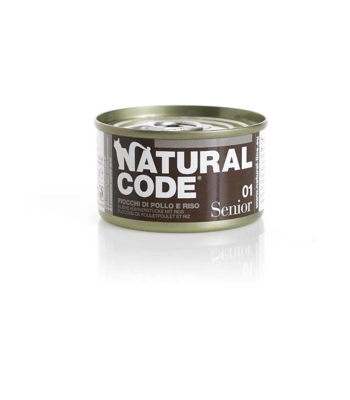 Natural code 01 gatto senior fiocchi di pollo e riso 85 gr