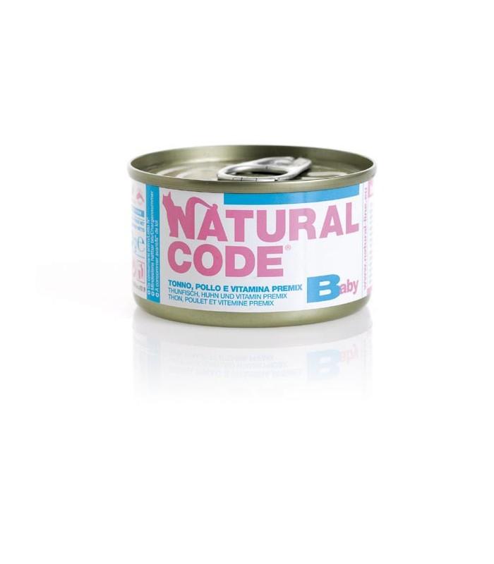 Natural code gatto baby tonno pollo e vitamina premix 85 gr