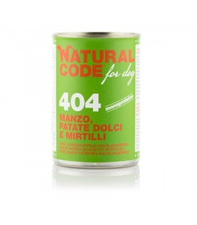 Natural code 404 cane manzo patate dolci e mirtilli 400 gr