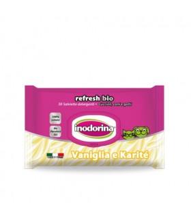 Inodorina refresh bio salviette al profumo di vaniglia e karite