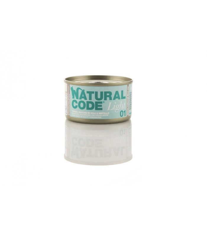 Natural code light 01 gatto tonno bacche di goji e mirtillo 85 gr