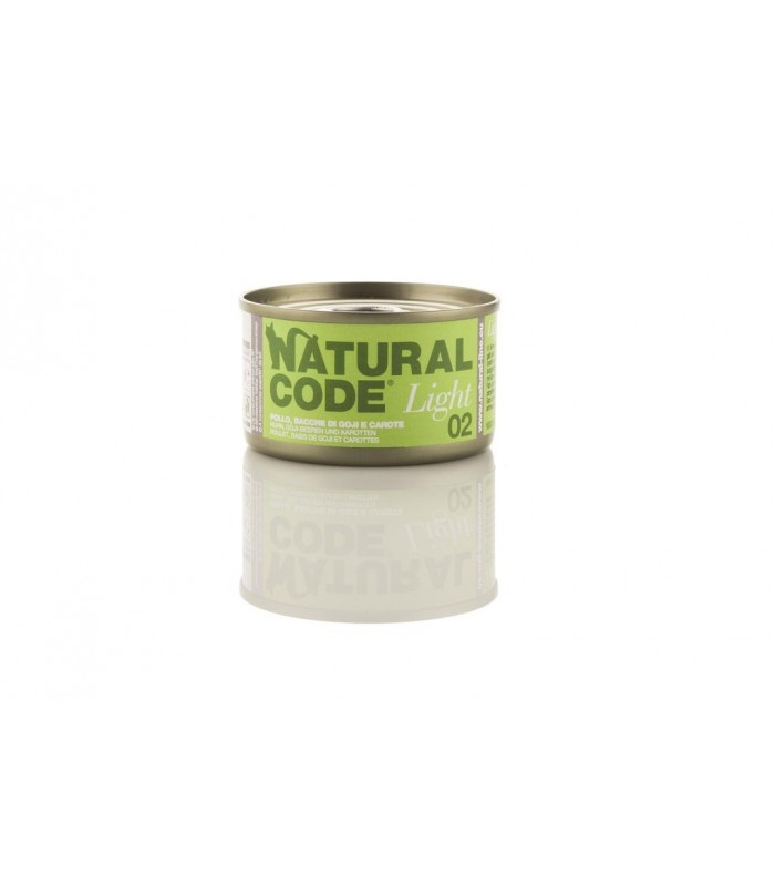 Natural code light 02 gatto pollo bacche di goji e carote 85 gr