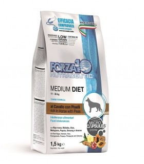 Forza 10 cane medium diet low grain al cavallo e piselli 1,5 kg