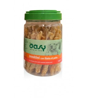Oasy snack cane involtini con filetto di pollo barattolo 350 gr