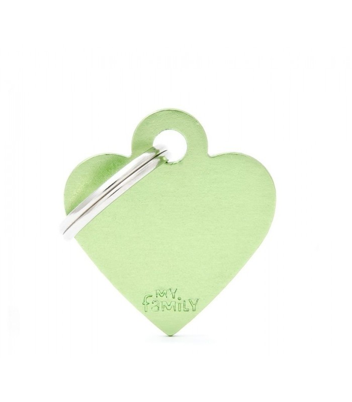 My family medaglietta cane green small heart