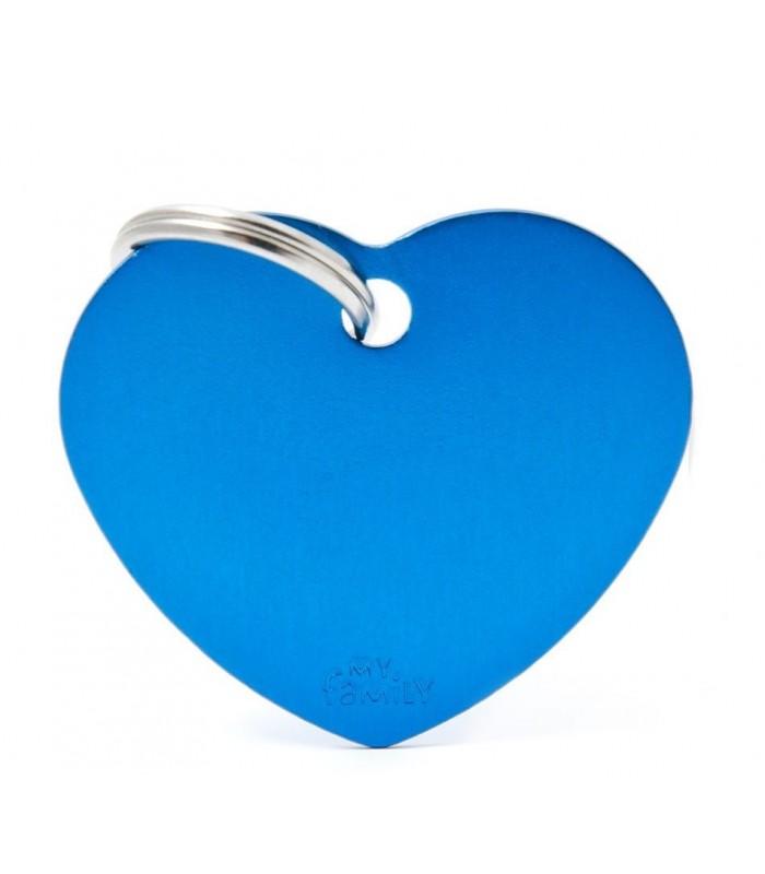 My family medaglietta cane light blue small heart
