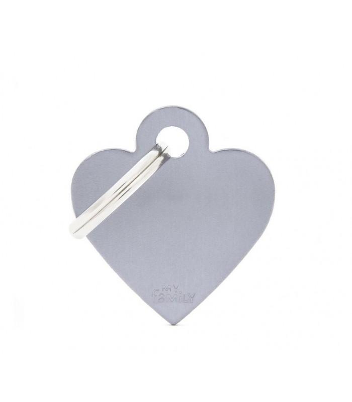 My family medaglietta cane grey small heart