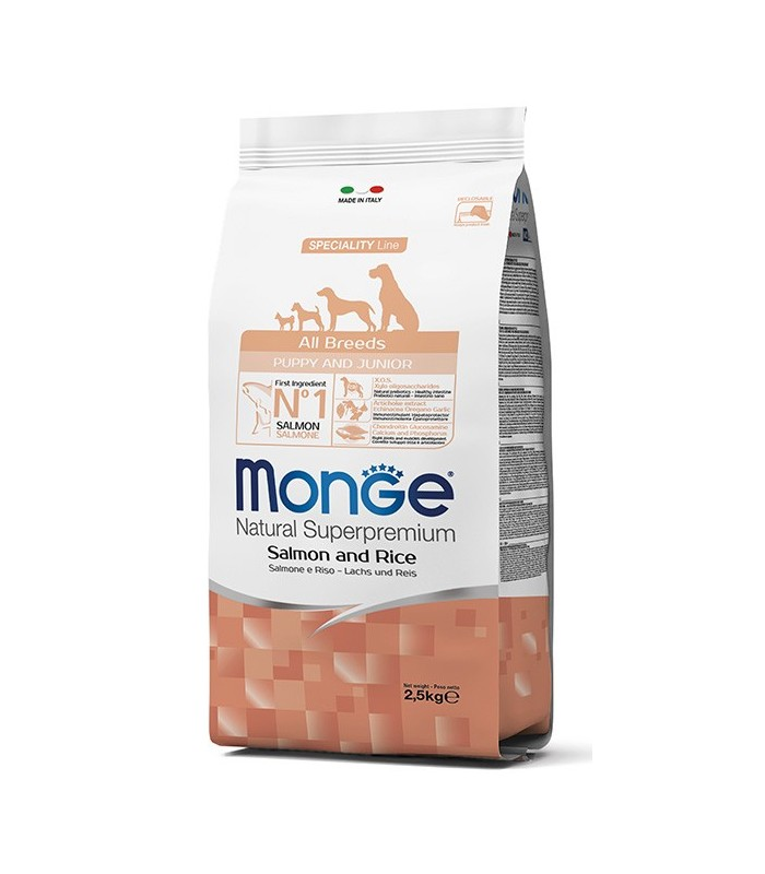 Monge cane puppy & junior all breeds salmone e riso 2,5 kg