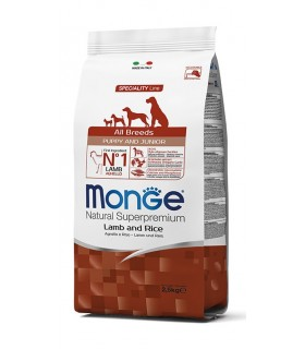 Monge cane puppy & junior all breeds agnello e riso 2,5 kg
