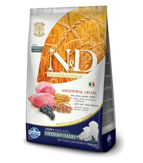 Farmina n&d low grain cane puppy medio maxi farro avena agnello e mirtillo 2,5 kg