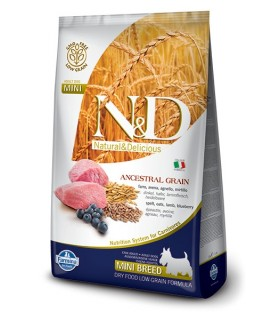 Farmina n&d low grain cane mini farro avena agnello mirtillo 800 gr