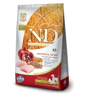Farmina n&d low grain cane light medio maxi farro avena pollo e melograno 12 kg