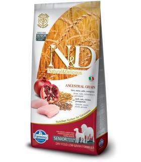 Farmina n&d low grain cane senior medio maxi farro avena pollo e melograno 12 kg