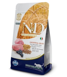 Farmina n&d low grain gatto farro avena agnello e mirtillo 5 kg