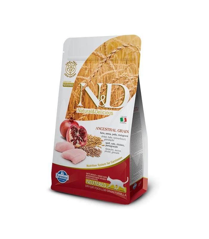 Farmina n&d low grain gatto neutered farro avena pollo melograno 300 gr