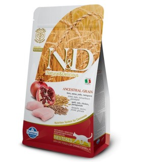 Farmina n&d low grain gatto neutered farro avena pollo melograno 1,5 kg