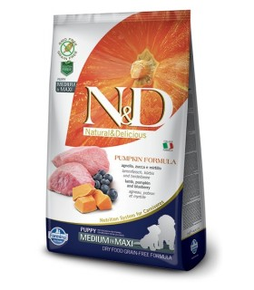 Farmina n&d pumpkin grain free puppy medio maxi agnello zucca e mirtillo 12 kg