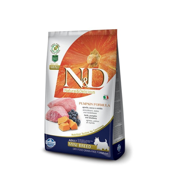 Farmina n&d pumpkin grain free adult mini agnello zucca e mirtillo 2,5 kg