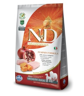 Farmina n&d pumpkin grain free adult medio maxi pollo zucca e melograno 12 kg