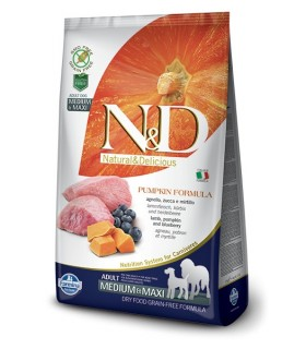 Farmina n&d pumpkin grain free adult medio maxi agnello zucca e mirtillo 2,5 kg
