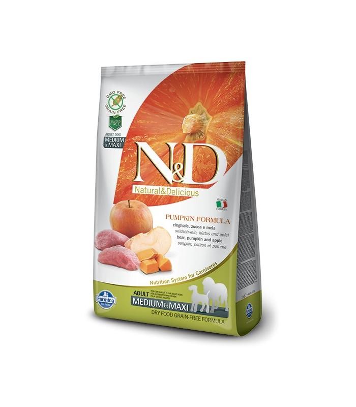 Farmina n&d pumpkin grain free adult medio maxi cinghiale zucca e mela 12 kg