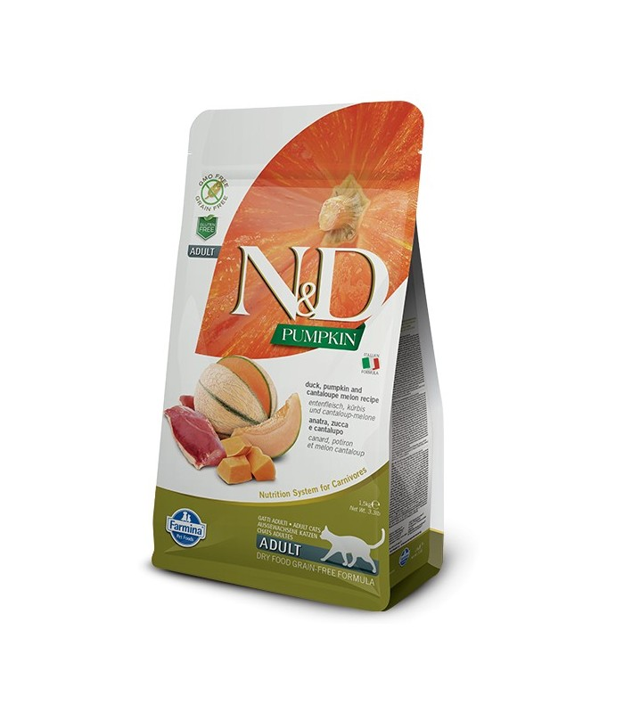 Farmina n&d pumpkin grain free gatto adult anatra zucca e melone cantalupo 1,5 kg