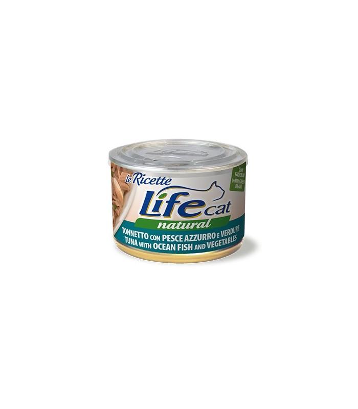 Life cat natural tonnetto con pesce azzurro e verdure 150 gr