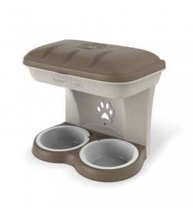 Bama pet ciotola food stand tortora