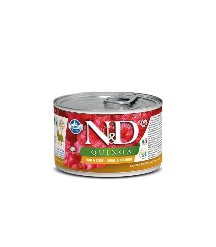 Farmina n&d quinoa adult mini skin & coat quaglia e cocco 140 gr