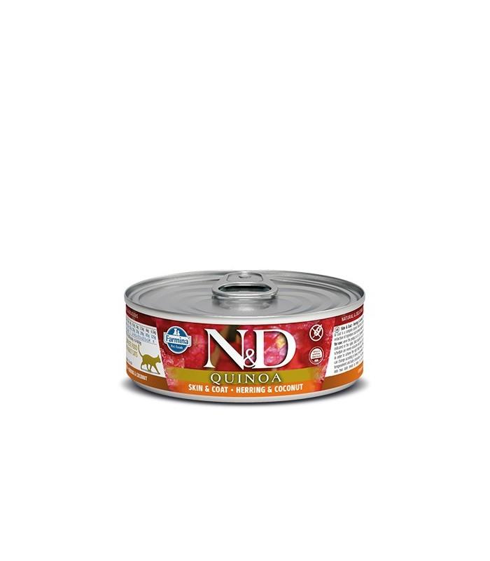 Farmina n&d quinoa gatto skin & coat aringa e cocco 80 gr