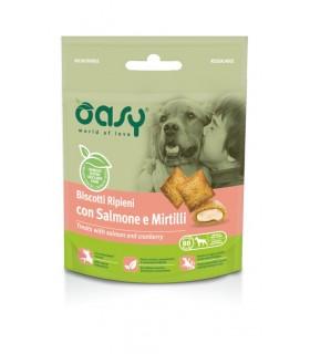 Oasy snack cane biscotti ripieni con salmone e mirtilli 70 gr