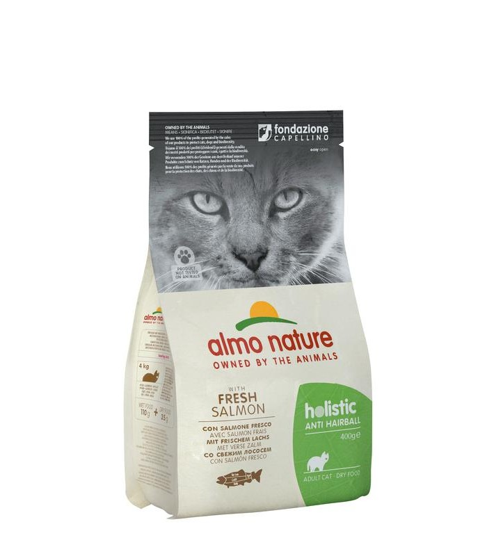 Almo nature holistic gatto adult anti hairball con salmone fresco 400 gr