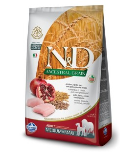 Farmina n&d low grain cane medium & maxi farro avena pollo e melograno 12 kg