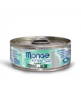 Monge gatto kitten pezzetti di tonno bonito con aloe in gelatina 80 gr