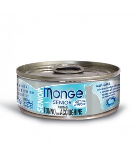 Monge gatto senior filetti di tonno con acciughine 80 gr
