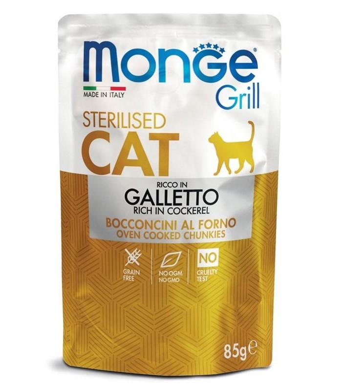Monge gatto grill sterilised bocconcini ricco in galletto busta 85 gr