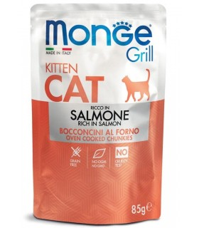 Monge gatto grill kitten bocconcini ricco in salmone busta 85 gr
