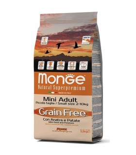 Monge cane grain free mini adult anatra e patate 2,5 kg