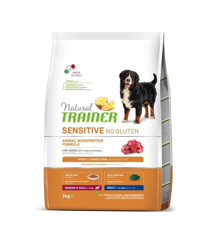 Natural trainer Sensitive cane No Gluten MediumMaxi Adult Agnello 3 kg