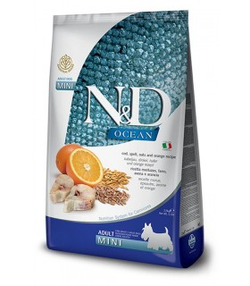 Farmina n&d ocean low grain cane mini merluzzo farro avena e arancia 7kg