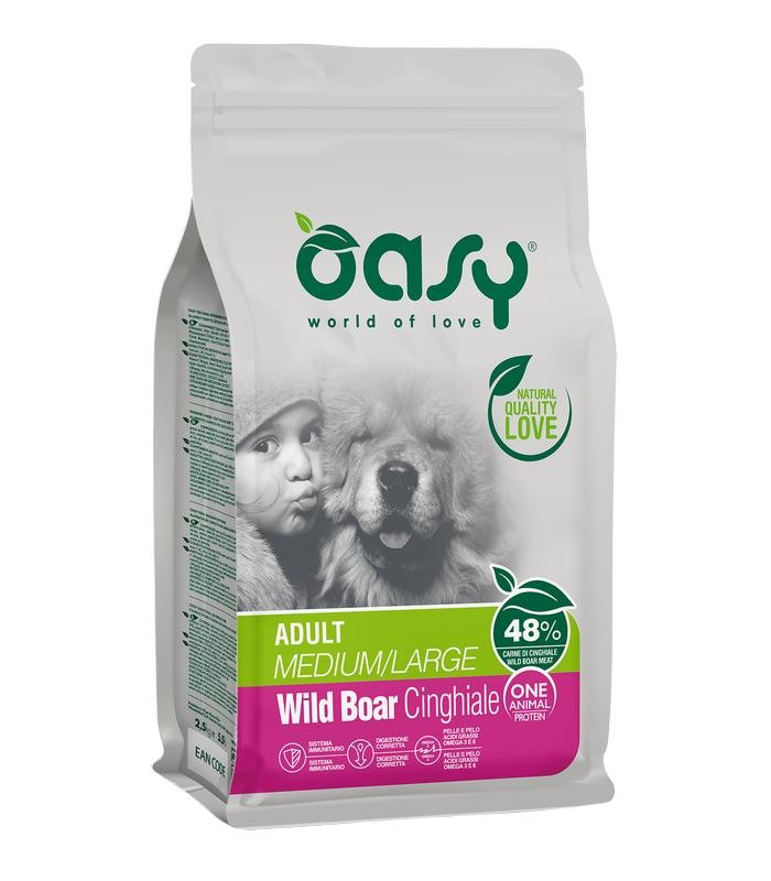 Oasy cane adult one protein medium large cinghiale 12 kg