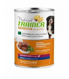 Natural trainer Sensitive no gluten cane medium & maxi Adult agnello e cereali integrali 400 g