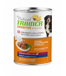 Natural trainer Sensitive no gluten cane medium & maxi Adult maiale e cereali integrali 400 g