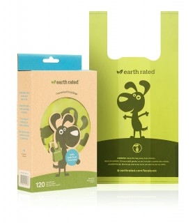 Earth rated sacchetti biodegradabili con manici inodore 120 pz senza rotolo