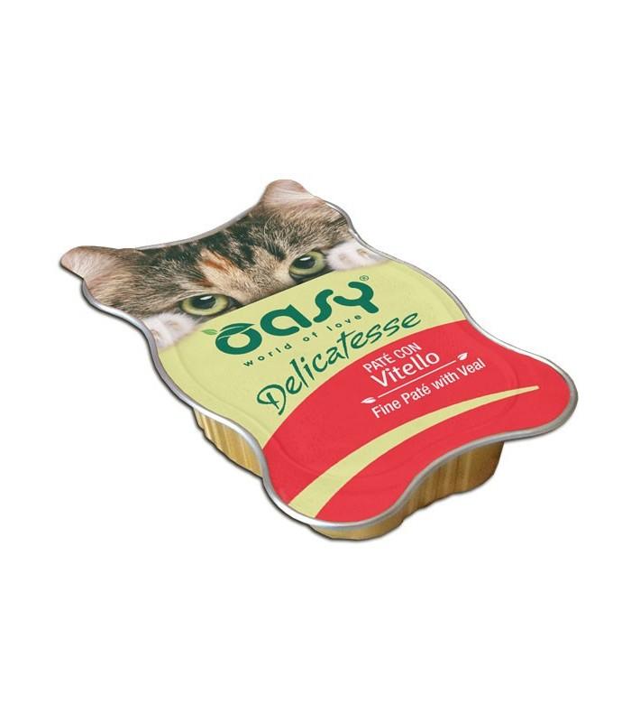Oasy gatto delicatesse pate con vitello vaschetta 85 gr