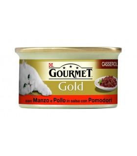 Gourmet gold casserole con manzo e pollo in salsa con pomodori 85 gr